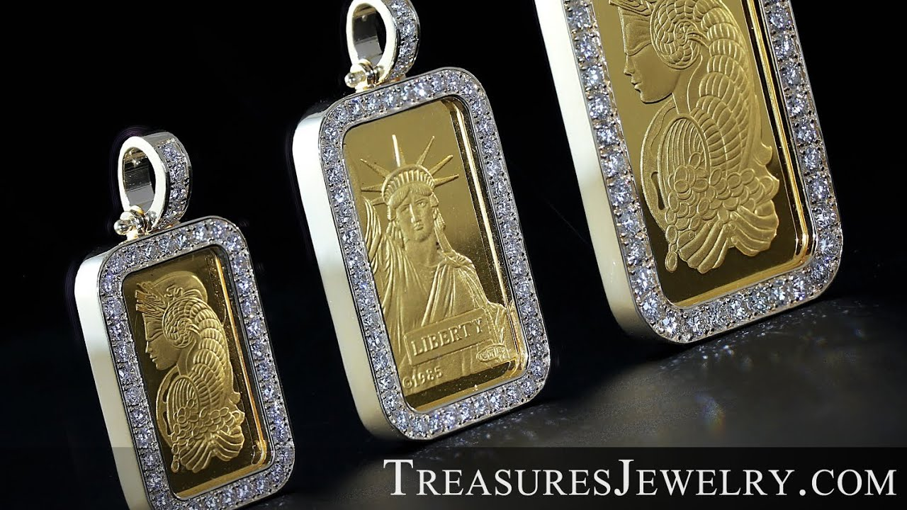 Diamond Encrusted 22k Suisse Gold Bar Pendant Treasures