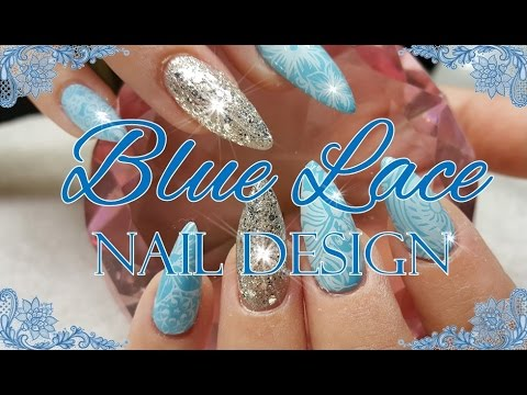 Acrylic Nails With A Sky Blue Silver Nail Design Youtube