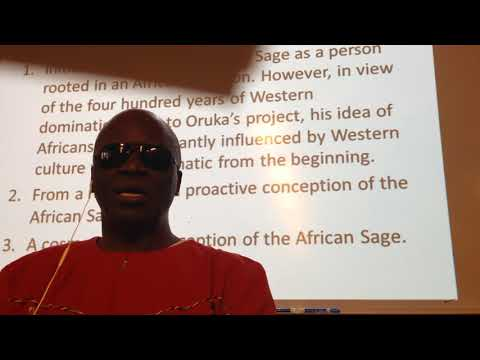 Dr Reginald Oduor. Reviving African Sage Philosophy - Continuities and Discontinuities