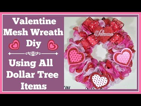 Valentine Mesh Wreath Dollar Tree Diy Very Easy