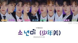 【認聲中字】PRODUCE X 101 - 少年美(소년미) (Color Coded Lyrics Han/Cht)