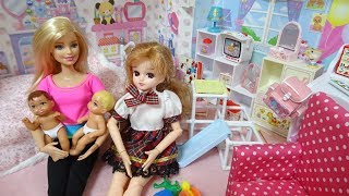 Barbie took a baby and came to Rika home リカちゃんストーリー Barbi...