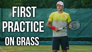 Roger Federer First Grass Court Practice of 2021 at Halle Open (HD)