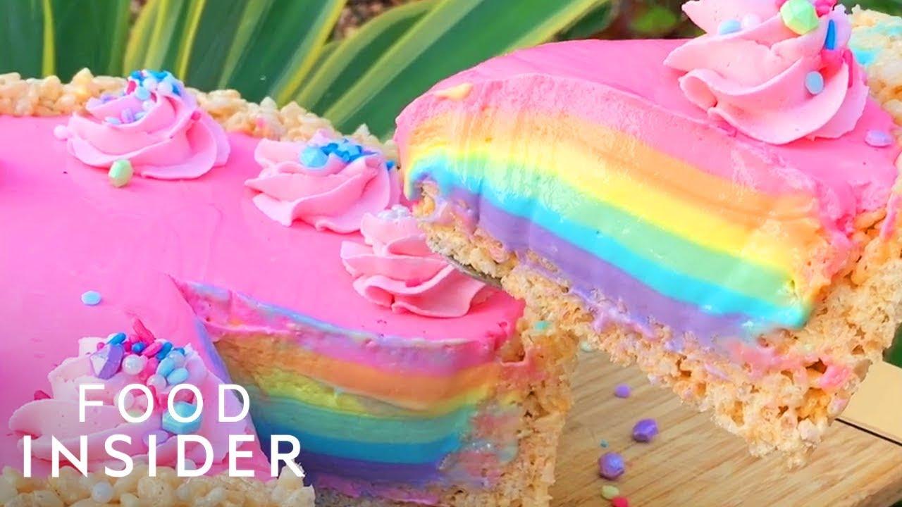 How To Make Easy No Bake Rainbow Cheesecake Youtube