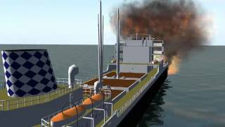 fire and explosion on cargo ship 3 - blue screen effect -