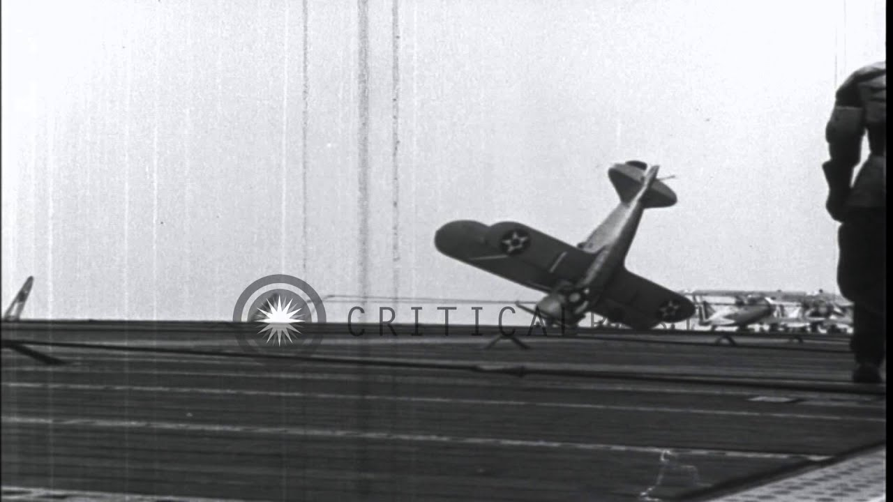 U.S. Marine Corps Grumman F3F-2 airplane stalls out and crashes nose ...