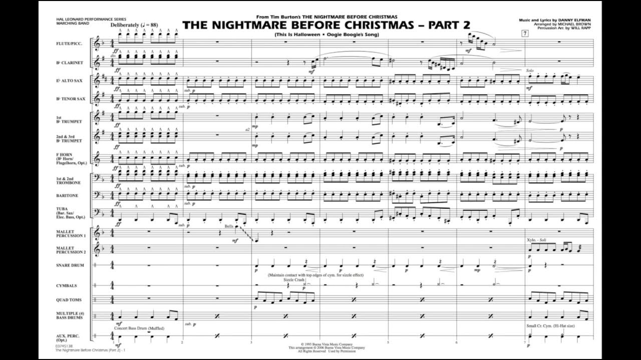 The Nightmare Before Christmas - Part 2 by Danny Elfman/arr. Michael ...