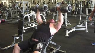 Eddie Hall Dumbbell Press 90kg's X  10 reps at Strength Asylum