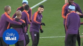 Manchester City's players prepare for Shakthar Donetsk tie