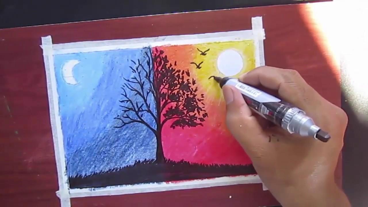 Vẽ tranh ngày và đêm phiên bản bút sáp màu loại thường