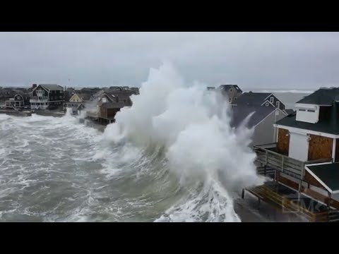02-02-2021 Scituate, MA - Drone shots of massive waves crash into homes, flooded and damaged homes,