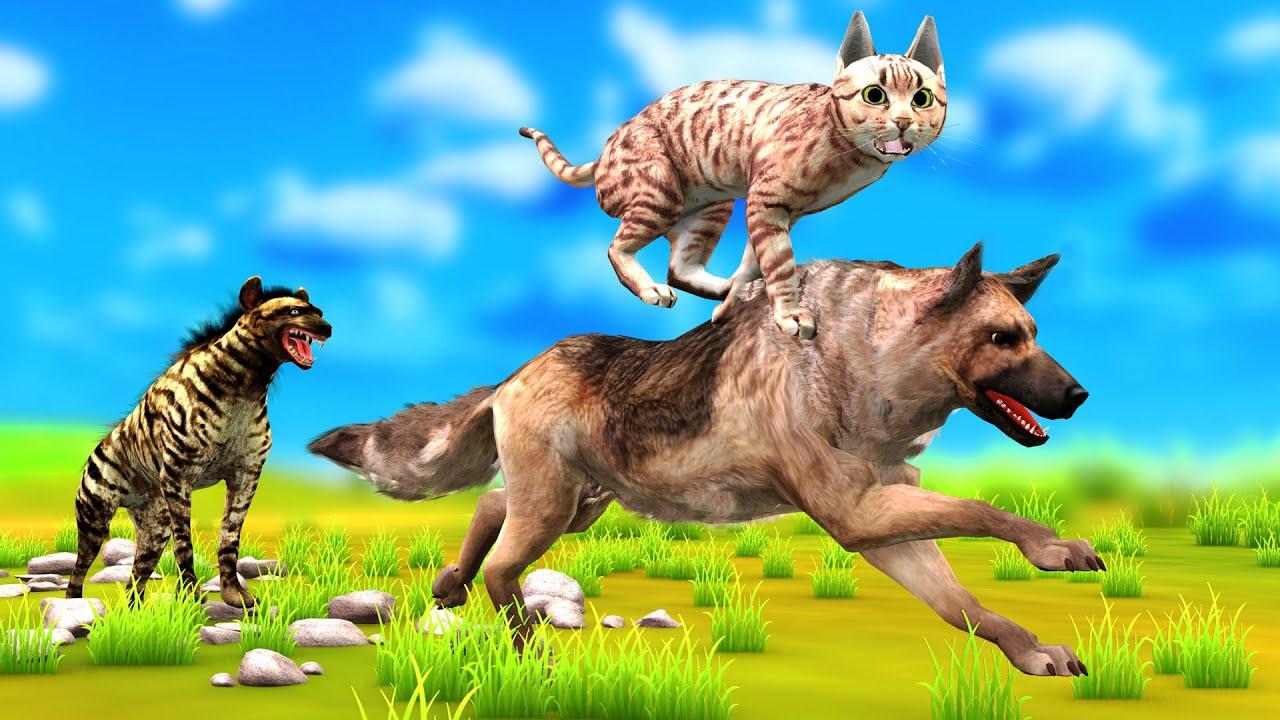 दो दोस्तों कुत्ते और बिल्ली और बुराई लकड़बग्घा Two Friends Dog Cat and Evil Hyena Hindi Kahaniya