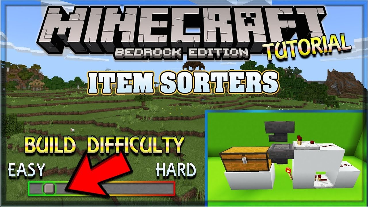How to build a Item Sorter Guide / Tutorial | Minecraft Bedrock Edition,  MCPE, MCBE