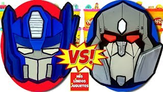Huevos Sorpresa Gigantes de Transformers Autobots VS Decepticons de Plastilina Play Doh en Español