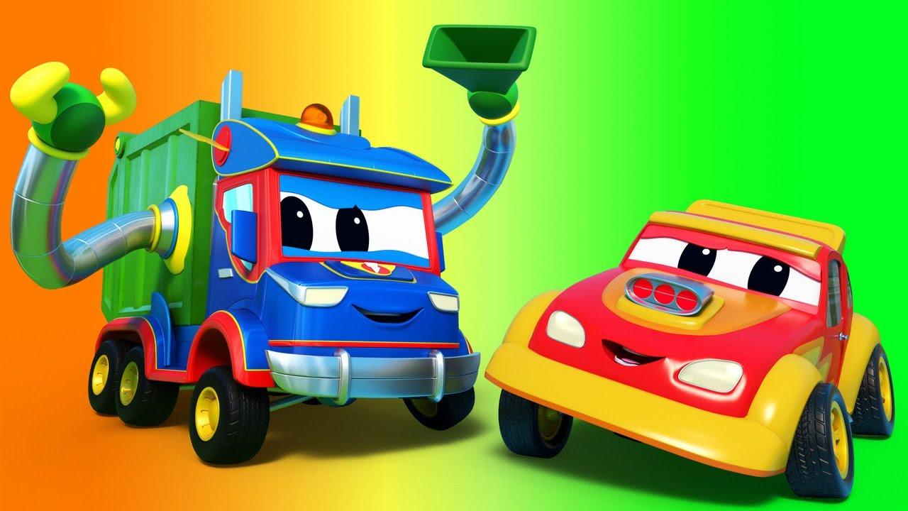 Phim hoạt hình về xe tải dành cho thiếu nhi –  Chiếc tàu và xe chở rác lập nhóm để giải cứu xe đua