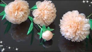 (ペーパーフラワー)簡単!芍薬の花の作り方 【DIY】(Paper Flower)Easy! Peony