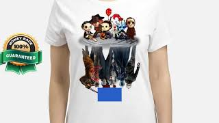 [funny halloween shirts] Horror movie characters water mirror reflection shirt, hoodie