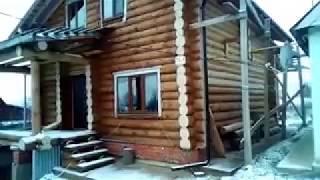видео Сруб бани из зимнего леса