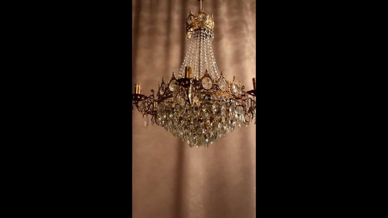 Empire Kronleuchter Antik ~ Antik kristall kronleuchter deckenlüster lampe jugendstil messing