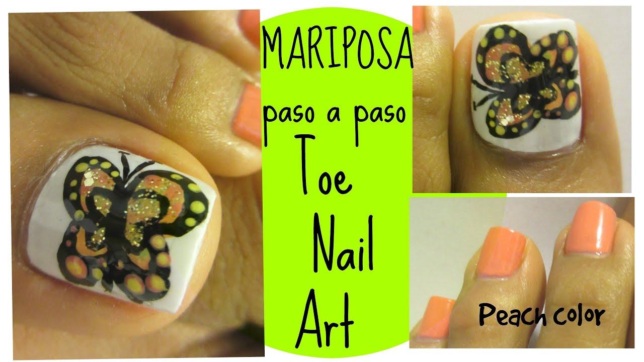 Mariposa a mano alzada uñas decoradas de los pies/Butterfly toe nail ...