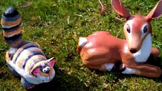 Котик и олень для сада своими руками