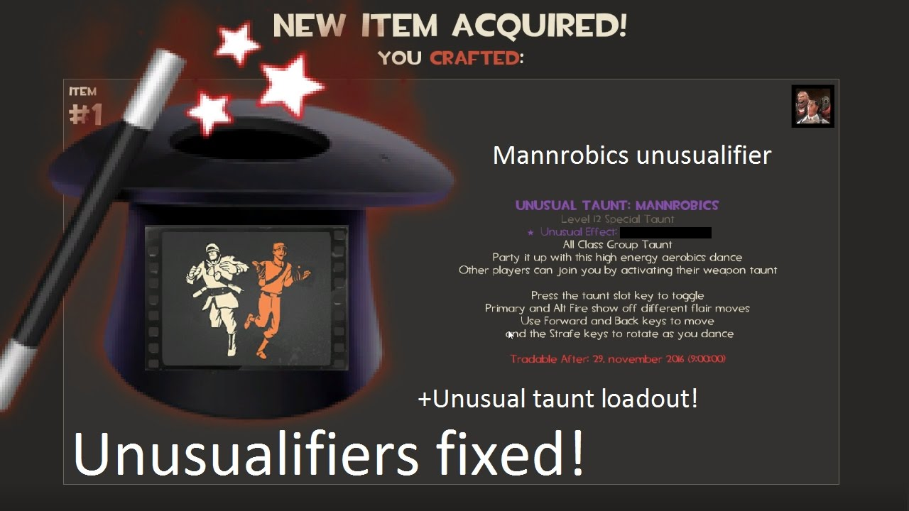 Mannrobics unusualifier! Unusualifiers fixed! + Unusual taunt loadout!