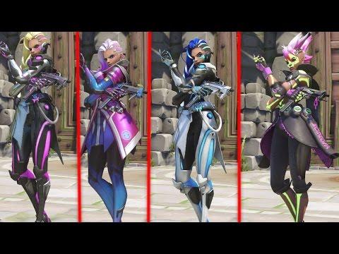 ALL Overwatch Sombra Skins (Legendary: Azucar, Los Muertos, Augmented, Cyberspace)