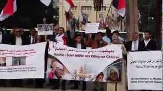 شاهد اعتصام لناشطين يمنيين في جنيف تنديدا بجرائم الحوثي والمخلوع في اليمن