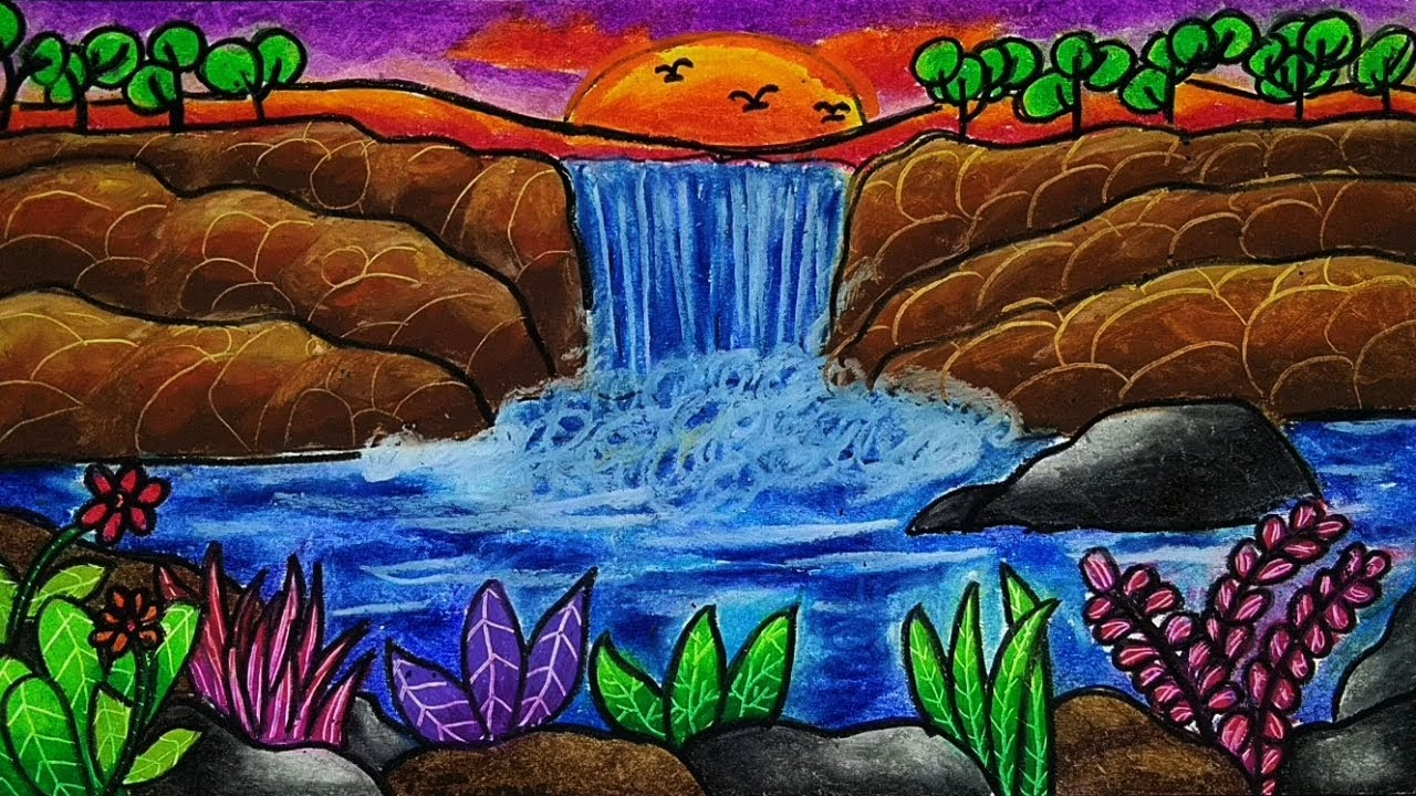How To Drawing And Coloring Waterfall View Easy And Beautiful Oil Pastel Color Gradation