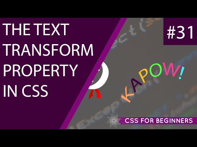 CSS Tutorial For Beginners 31 - Text Transform