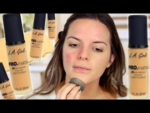 NEW L.A GIRL PRO MATTE FOUNDATION! WEAR TEST & REVIEW |  Casey Holmes