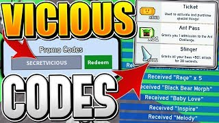 VICIOUS BEE UPDATE CODES IN ROBLOX BEE SWARM SIMULATOR!