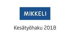 Mikkelin kaupungin kesätyöpaikat 2018