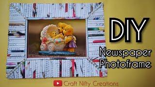Newspaper Photo Frame | #DIY #bestoutofwaste | Craft Nifty Creations