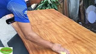 Ngoại hình của gỗ cẩm hồng - Khâu xử lý với dầu phun nano chống thấm, bảo vệ gỗ tốt hơn - mặt bàn ăn