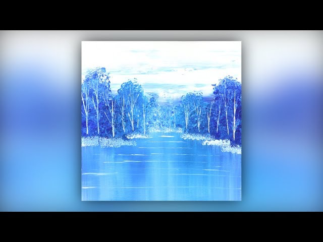 Easy Abstract Landscape / Acrylic Painting / Blue / Demo #017