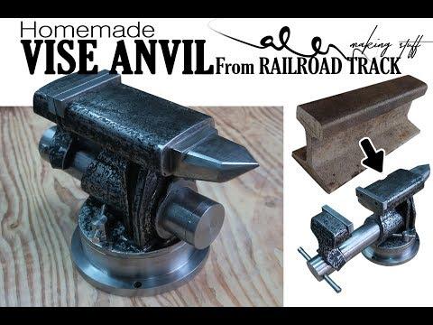DIY VISE ANVIL from Railroad track - Blacksmith beginner
