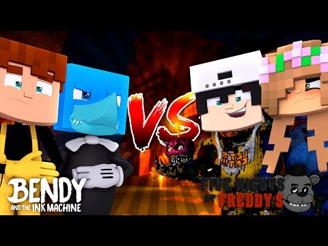 SHARKY AND RAVEN VS LITTLE KELLY AND SCUBA STEVE - Minecraft Hello Neighbour vs Fnaf and Bendy