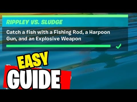 Catch a fish with a Fishing Rod, a Harpoon Gun, and an Explosive Weapon Fortnite