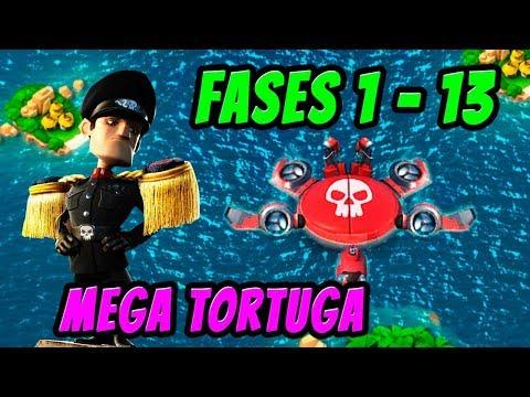 Mega Tortuga Fases 01 - 13 | Sin potenciar | Boom Beach Español