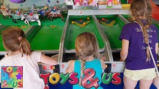 Kids Challenge Game Playing Blackpool's Donkey Derby/Jousting Race Game. Who'll Win The Most Prizes?