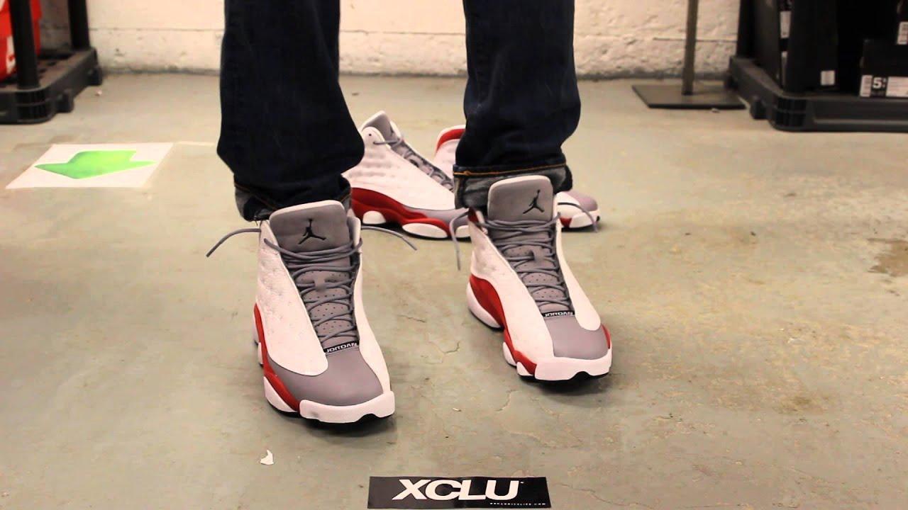 nike air jordan retro 13 grey toe on feet