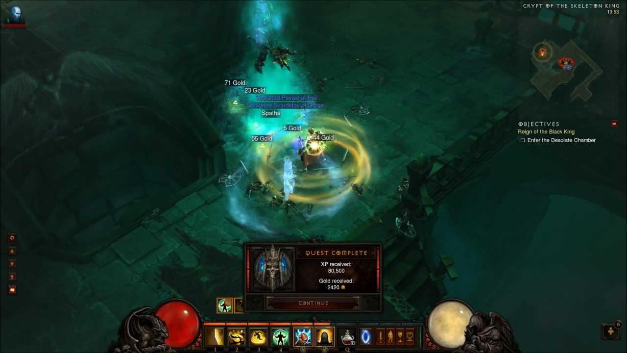 Diablo 3 Monk Gameplay [HD HQ 1080P] - Beating Skeleton