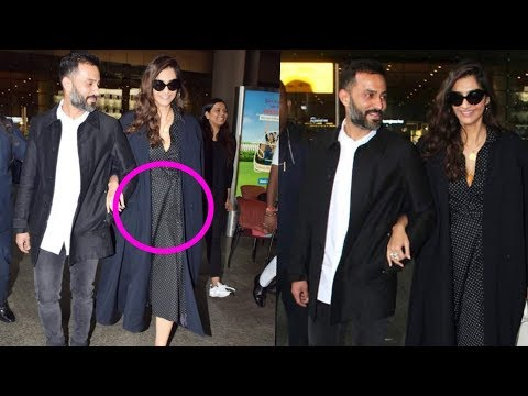 Sonam Kapoor spotted with baby bump with hubby Anand Ahuja after so long at the Airport