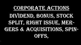 Corporate Actions Explained in Hindi