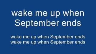 Green Day - Wake Me Up When September Ends (Lyrics on Screen)