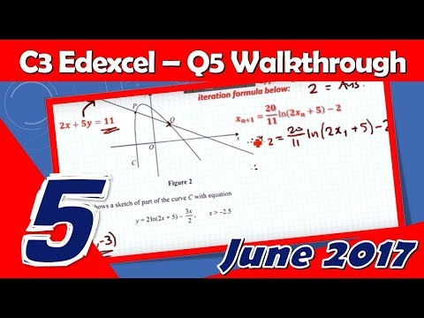 C3 Edexcel June 2017 | Question 5 Walkthrough | Normal, Simultaneous Equations & Iterations