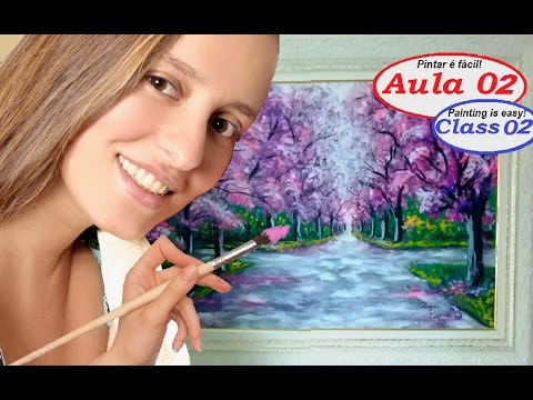 Pintar é fácil! Pintando um caminho com árvores. Acrylic Landscape Painting Lesson