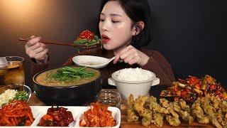 SUB)추워진 날씨에 뜨끈뜨끈 추어탕 먹방 🍲 추어튀김 가오리무침까지 리얼사운드 Chueotang Chueo Twigim Mukbang ASMR