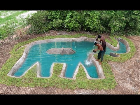 Build underground Swimming Pool Elephant Shape. Full Video